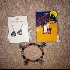 Other - Halloween Jewelry set! Bracelet, earrings, & pin!